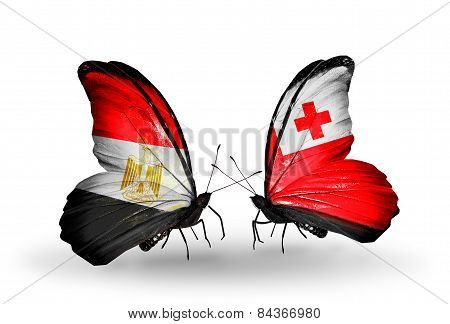 Two Butterflies With Flags On Wings As Symbol Of Relations Egypt And Tonga