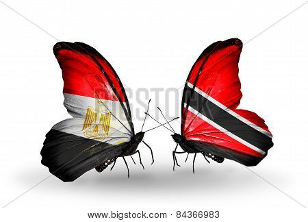 Two Butterflies With Flags On Wings As Symbol Of Relations Egypt And Trinidad And Tobago