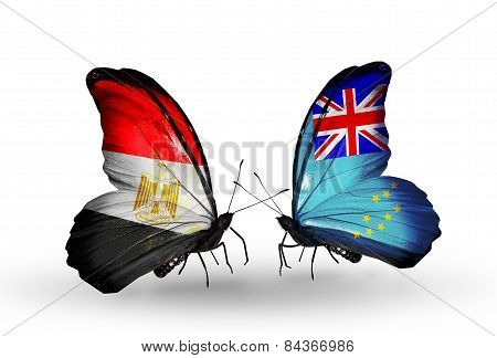 Two Butterflies With Flags On Wings As Symbol Of Relations Egypt And Tuvalu