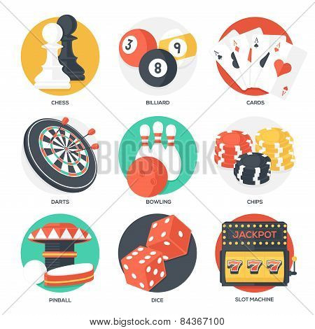 Casino Sport And Leisure Games Icons (chess, Billiard, Poker, Darts, Bowling, Gambling Chips, Pinbal