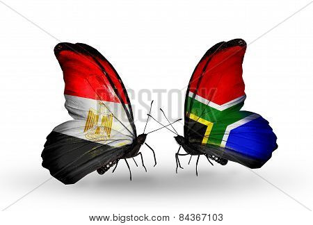 Two Butterflies With Flags On Wings As Symbol Of Relations Egypt And South Africa