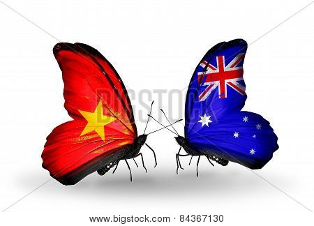 Two Butterflies With Flags On Wings As Symbol Of Relations Vietnam And Australia
