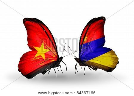 Two Butterflies With Flags On Wings As Symbol Of Relations Vietnam And Armenia