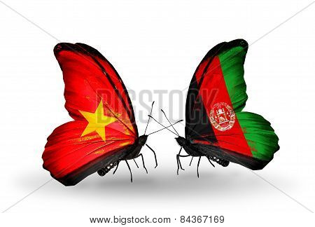 Two Butterflies With Flags On Wings As Symbol Of Relations Vietnam And Afghanistan