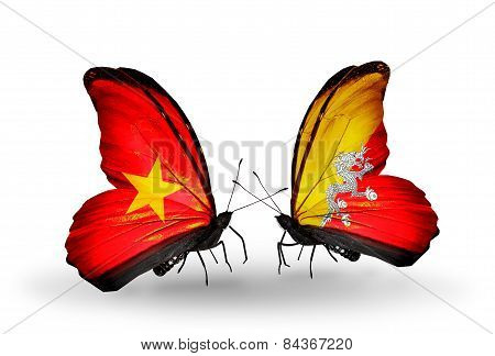 Two Butterflies With Flags On Wings As Symbol Of Relations Vietnam And Bhutan