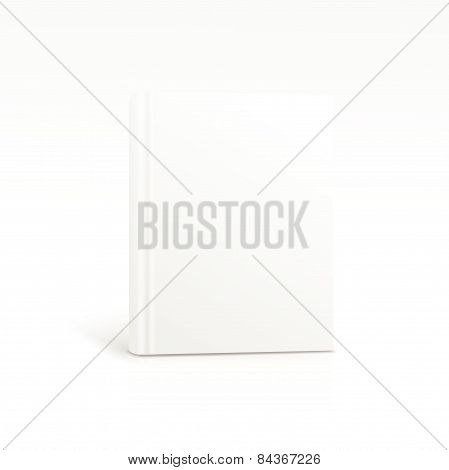 Blank vertical book cover template standing on white surface