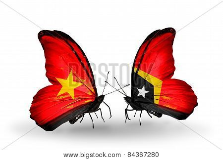 Two Butterflies With Flags On Wings As Symbol Of Relations Vietnam And East Timor