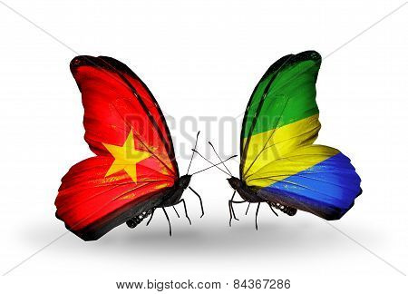 Two Butterflies With Flags On Wings As Symbol Of Relations Vietnam And Gabon