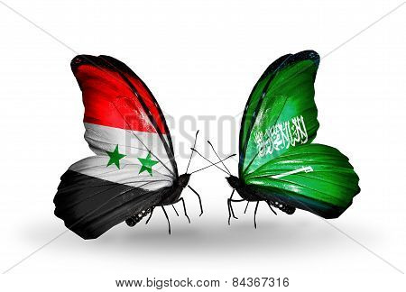 Two Butterflies With Flags On Wings As Symbol Of Relations Syria And Saudi Arabia