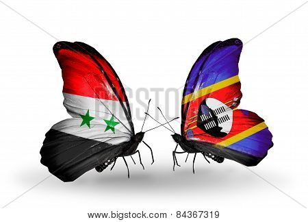 Two Butterflies With Flags On Wings As Symbol Of Relations Syria And Swaziland