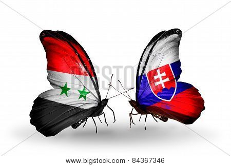Two Butterflies With Flags On Wings As Symbol Of Relations Syria And Slovakia