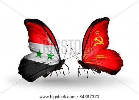 Two Butterflies With Flags On Wings As Symbol Of Relations Syria And Soviet Union