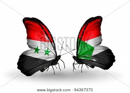 Two Butterflies With Flags On Wings As Symbol Of Relations Syria And Sudan