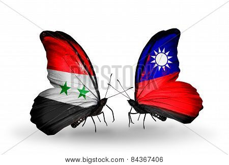 Two Butterflies With Flags On Wings As Symbol Of Relations Syria And Taiwan