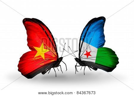Two Butterflies With Flags On Wings As Symbol Of Relations Vietnam And Djibouti