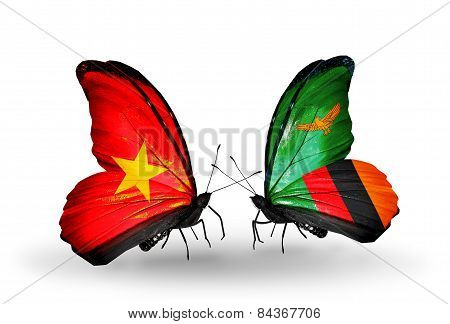 Two Butterflies With Flags On Wings As Symbol Of Relations Vietnam And Zambia