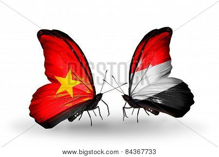 Two Butterflies With Flags On Wings As Symbol Of Relations Vietnam And Yemen