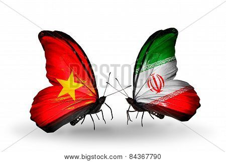 Two Butterflies With Flags On Wings As Symbol Of Relations Vietnam And Iran