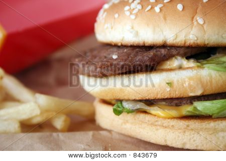 close-up of cheeseburger with potato