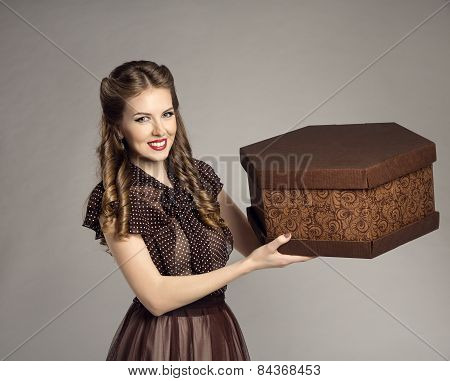 Woman Advertise Cake Present Gift Box, Retro Girl Food Deliver, Offer Delivery Service