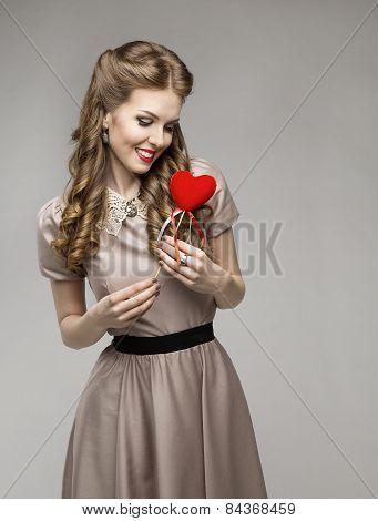 Woman Heart, Love Dreams, Retro Lady Portrait, Valentine Present Concept, Elegant Model Hairstyle