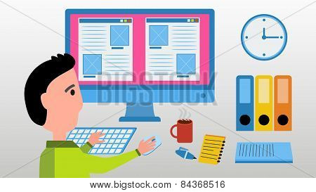 Web Designer Work On Computer.