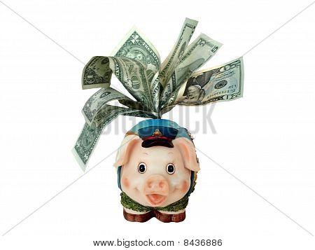 overstuffed funny piggy bank