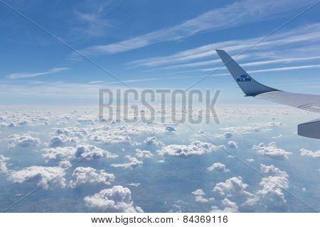 Wing Section Of A Klm Fokker 70 In Flight