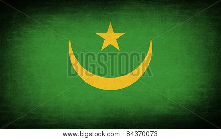 Flag Of Mauritania With Old Texture. Vector