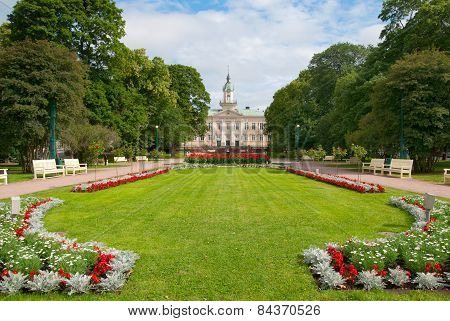 Pori. Finland. Old Town Hall and Town Hall Park