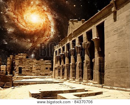Colonnade At The Temple Of Isis At Philae And The Pinwheel Galaxy M101 (elements Of This Image Furni