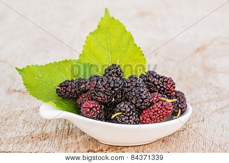 Mulberries With Leaf Isolated On White Background