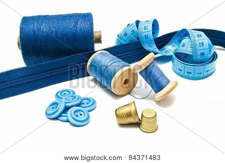Zipper, Buttons And Spools Of Thread