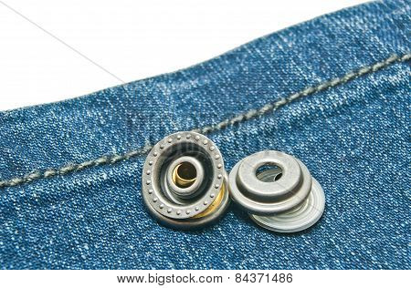 Blue Denim With Two Metal Buttons