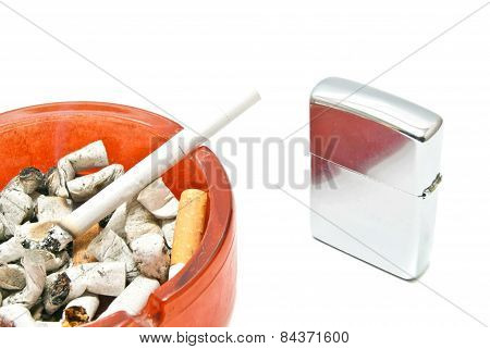 Metal Lighter And Cigarette Closeup