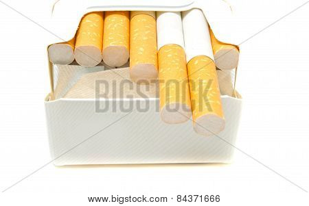 Some Cigarettes In Pack Closeup