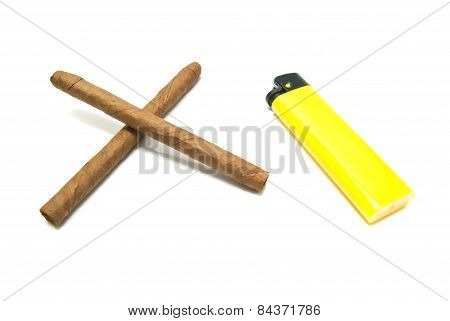Yellow Lighter And Two Cigars