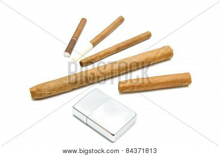 Cigars And Cigarillos With Lighter