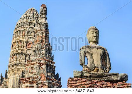 Old Temple, Wat Chaiwatthanaram Temple Of Ayuthaya Province ( Ayutthaya Historical Park ),thailand