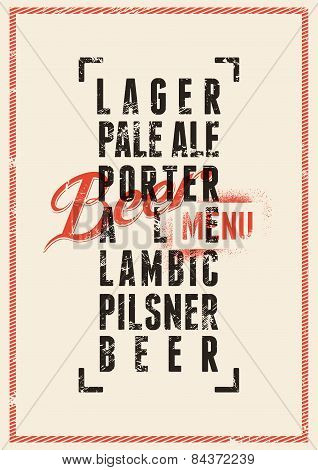 Beer menu design. Vintage grunge style beer poster. Vector illustration.