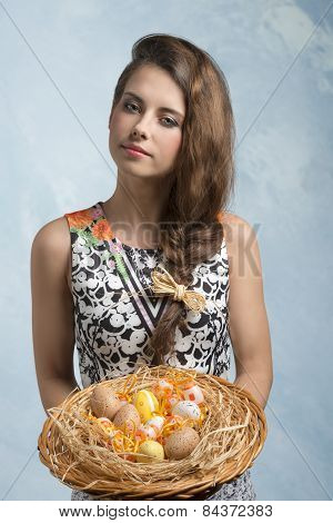 Woman With Easter Decorated Eggs