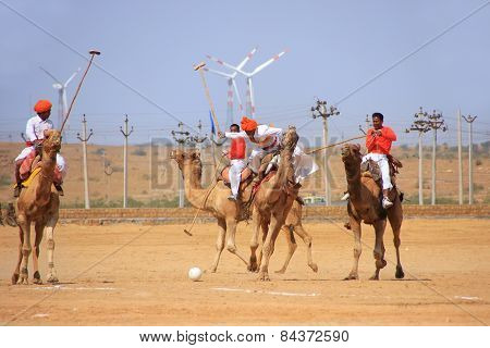 Jaisalmer, India - February 16: Unidentified Men Play Camel Polo At Desert Festival On February 16,