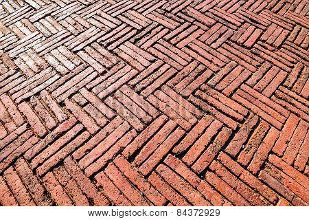 Red Brick Paving On A Sidewalk At Ayutthaya, World Heritage, Thailand.