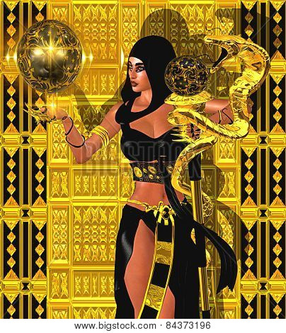 Magic woman with gold snake and mystical sphere of light.