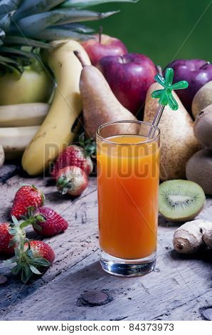 Mix Squeezed Fruit Juices In A Glass