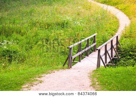 Old Wooden Bridge And Walking Lane