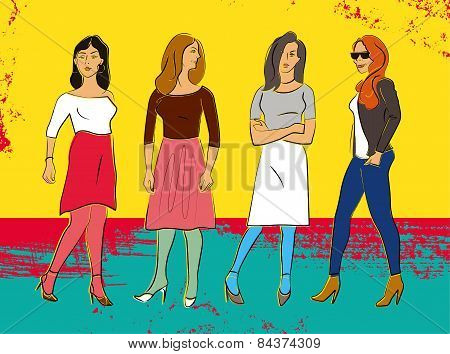 Four beautiful fashion girls. Colorful poster in grunge style. Vector illustration.