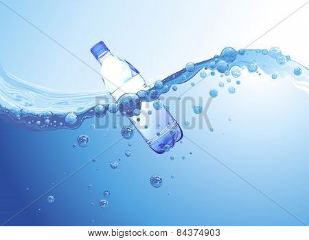 Bottle Of Water In The Water
