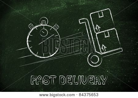 Stopwatch And Parcels, Concept Of Fast Delivery