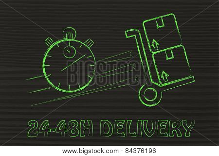 Stopwatch And Parcels, Concept Of Fast 24-48H Delivery